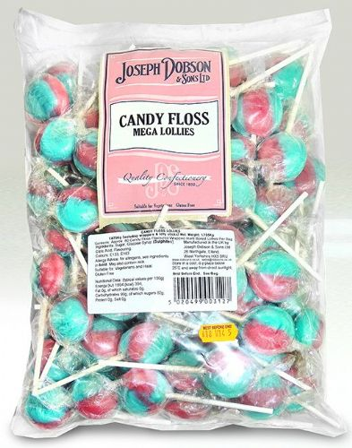DOB25 DOBSONS WRAPPED CANDYFLOSS MEGA LOLLIES x80